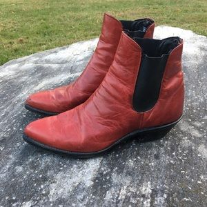 Vintage Red Leather Code West Booties